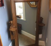 antique mirror with sconce shelves