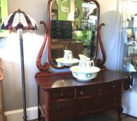 mahogany dresser with large mirror