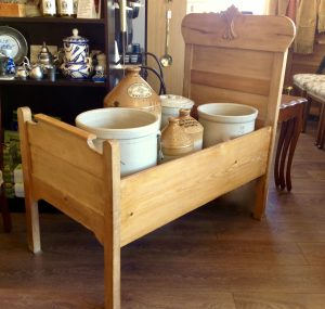 Small antique pine bed